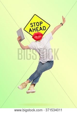 Jumping Man Headed By Sign Stop Ahead. Victory, Winning Is Near. Modern Design. Contemporary Artwork