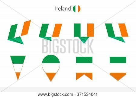 Ireland National Flag Collection, Eight Versions Of Ireland Vector Flags. Vector Illustration.