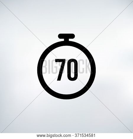 70 Seconds Countdown Timer Icon Set. Time Interval Icons. Stopwatch And Time Measurement. Stock Vect