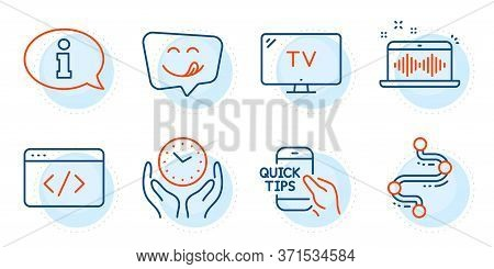Seo Script, Yummy Smile And Music Making Signs. Information, Safe Time And Tv Line Icons Set. Timeli