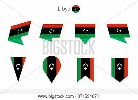 Libya National Flag Collection, Eight Versions Of Libya Vector Flags. Vector Illustration.