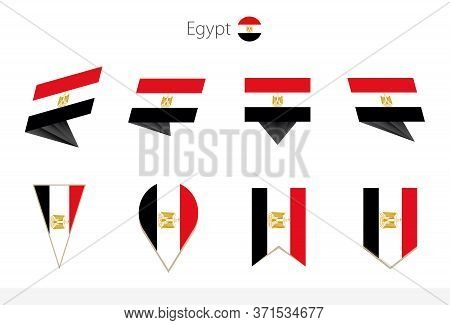 Egypt National Flag Collection, Eight Versions Of Egypt Vector Flags. Vector Illustration.
