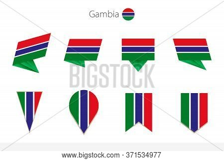 Gambia National Flag Collection, Eight Versions Of Gambia Vector Flags. Vector Illustration.