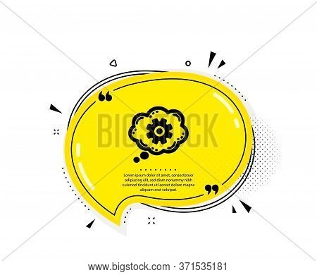 Cogwheel Chat Icon. Quote Speech Bubble. Engineering Tool Sign. Cog Gear Symbol. Quotation Marks. Cl