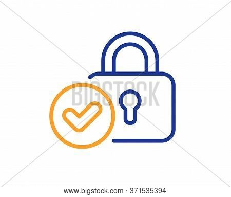 Verified Locker Line Icon. Approved Protection Lock Sign. Confirmed Security Symbol. Colorful Thin L