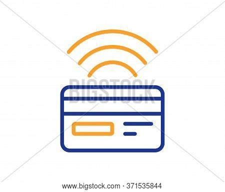 Contactless Payment Line Icon. Credit Card Sign. Cashless Purchases Symbol. Colorful Thin Line Outli