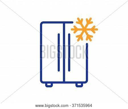 Two-chamber Refrigerator Line Icon. Fridge With Snowflake Sign. Freezer Storage Symbol. Colorful Thi