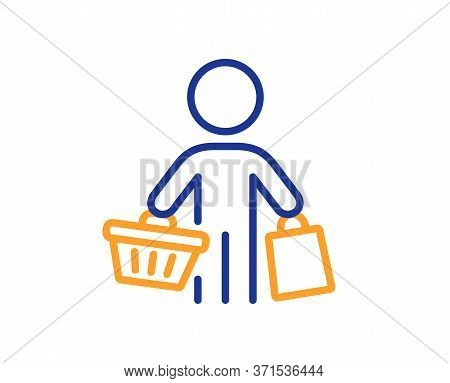Buyer With Shopping Cart Line Icon. Customer With Bags Sign. Supermarket Client Symbol. Colorful Thi
