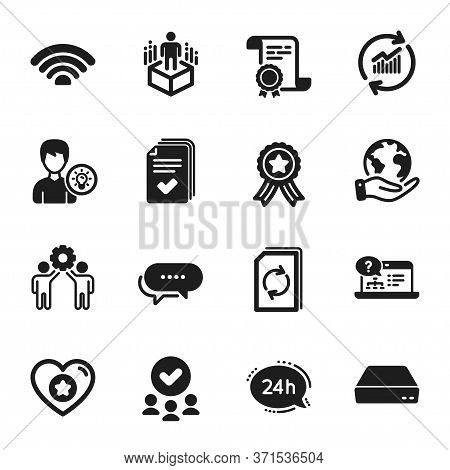 Set Of Technology Icons, Such As Employees Teamwork, 24h Service. Certificate, Approved Group, Save