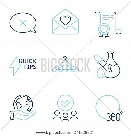 Chemistry Experiment, Reject And Love Letter Line Icons Set. Diploma Certificate, Save Planet, Group