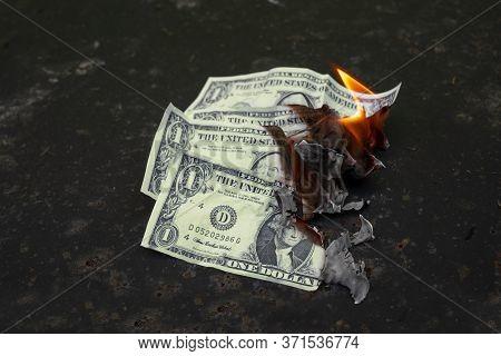 Burning Dollar Bills, Money Concept For Wage Reduction, Economic Crisis, Stock Market Crash Or Infla