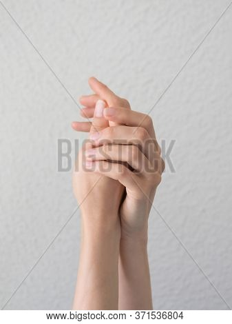 Elegant And Graceful Hands With Slender Graceful Fingers. Image Of Beautiful Woman Hands.