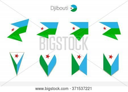 Djibouti National Flag Collection, Eight Versions Of Djibouti Vector Flags. Vector Illustration.