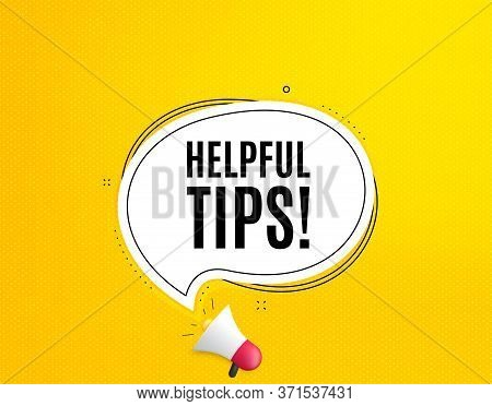 Helpful Tips Symbol. Megaphone Banner With Chat Bubble. Education Faq Sign. Help Assistance. Loudspe