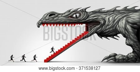 Business Trap Concept And Career Fraud Or Trapped Businessman And Baited Workers Entering The Mouth