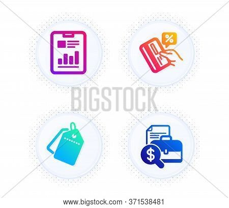 Report Document, Sale Tags And Credit Card Icons Simple Set. Button With Halftone Dots. Accounting R