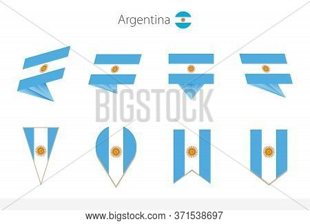 Argentina National Flag Collection, Eight Versions Of Argentina Vector Flags. Vector Illustration.