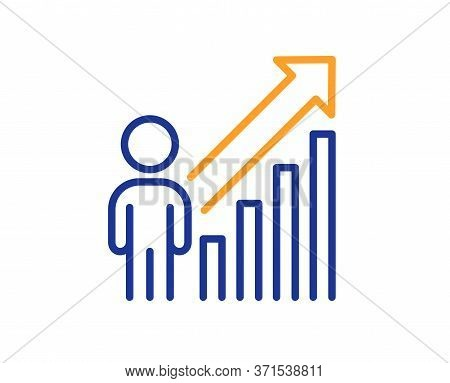 Employee Result Line Icon. Business Growth Statistics Sign. Human Resource Symbol. Colorful Thin Lin
