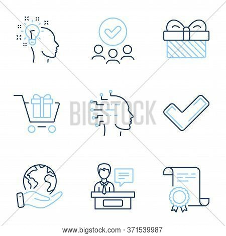 Shopping Cart, Artificial Intelligence And Exhibitors Line Icons Set. Diploma Certificate, Save Plan