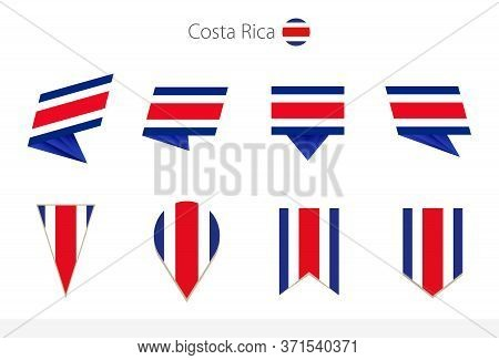 Costa Rica National Flag Collection, Eight Versions Of Costa Rica Vector Flags. Vector Illustration.