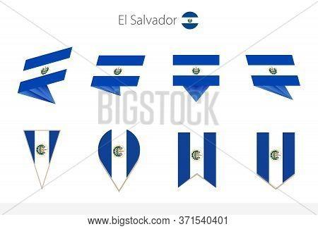 El Salvador National Flag Collection, Eight Versions Of El Salvador Vector Flags. Vector Illustratio