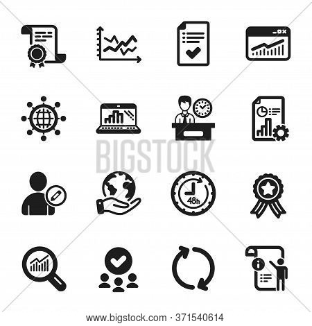 Set Of Technology Icons, Such As 48 Hours, Graph Laptop. Certificate, Approved Group, Save Planet. I