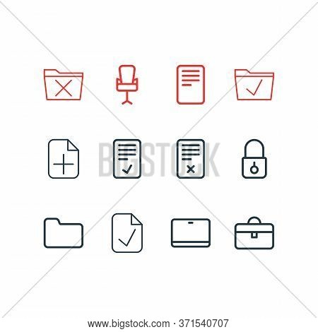 Vector Illustration Of 12 Bureau Icons Line Style. Editable Set Of Office Chair, Tablet, Approve And