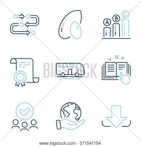 Download, Peanut And Graph Chart Line Icons Set. Diploma Certificate, Save Planet, Group Of People.