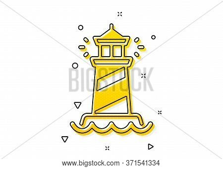 Searchlight Tower Sign. Lighthouse Icon. Beacon Symbol. Yellow Circles Pattern. Classic Lighthouse I
