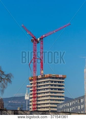 2019-12-22; linz, austria. a high-rise for apartments will be