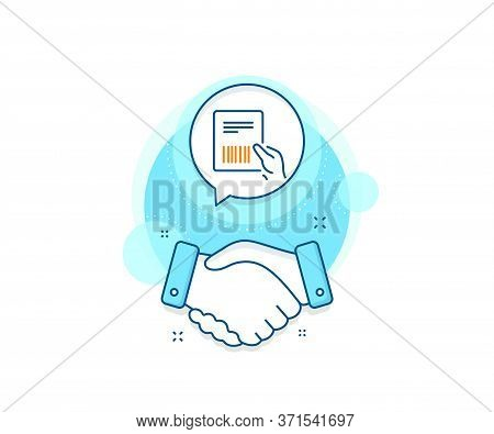 Delivery Document Sign. Handshake Deal Complex Icon. Parcel Invoice Line Icon. Package Shipping Symb