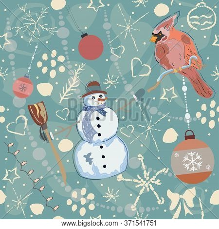Seamless Red Cardinal And Snowman Pattern On Cute Background. Hand Drawn Design.