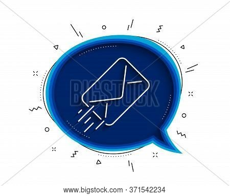Mail Delivery Line Icon. Chat Bubble With Shadow. Message Correspondence Sign. E-mail Symbol. Thin L