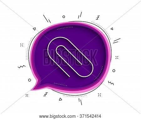 Attach Line Icon. Chat Bubble With Shadow. Attachment Paper Clip Sign. Office Stationery Object Symb