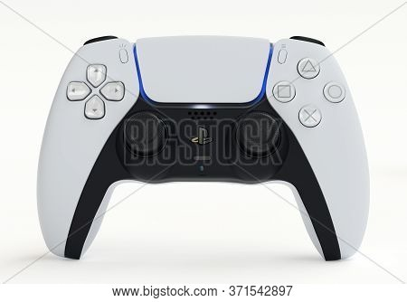 Japan - June 11, 2020. Presentation Of A New Product From Sony, Wireless White Playstation 5 Gamepad
