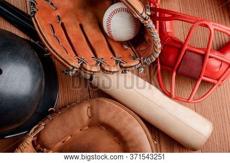Top View On Professional Baseball Equipment Set