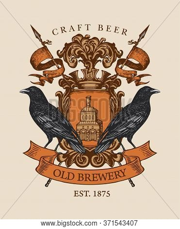 Old Brewery Coat Of Arms In Vintage Style. Suitable For Pubs, Bars And Breweries Design. Vector Hera