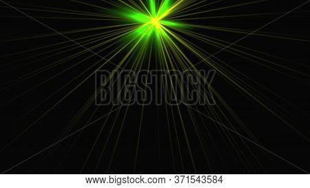 Computer Generated Shiny Star With Rotating Beams Of Light. 3d Rendering Of Dynamic Background