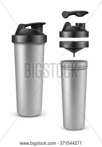 Vector Realistic 3d Silver Shaker With Open Cap For Sports Nutrition, Gainer Or Whey Protein. Plasti