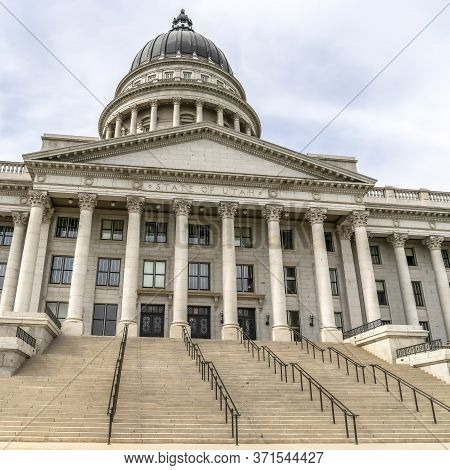 Square Frame Utah State Capital Building With Stairs Leading To The Pedimented Entrance