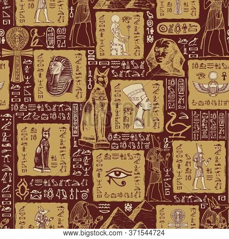 Seamless Pattern On An Ancient Egypt Theme With Sketches And Scribbles. The Hieroglyphs Are Randomly