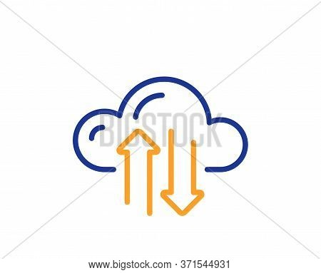 Cloud Computing Sync Line Icon. Internet Data Storage Sign. File Hosting Technology Symbol. Colorful