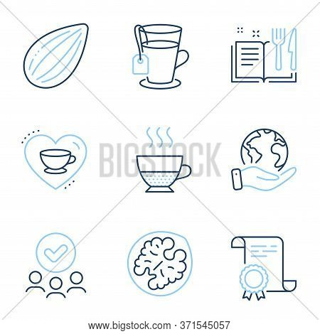 Doppio, Love Coffee And Recipe Book Line Icons Set. Diploma Certificate, Save Planet, Group Of Peopl