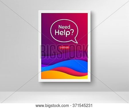 Need Help Symbol. Frame With Abstract Waves Poster. Support Service Sign. Faq Information. Gradient