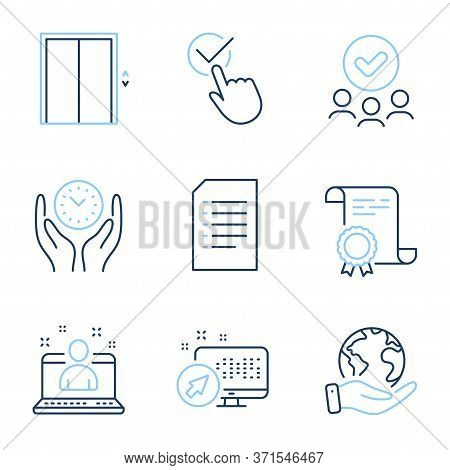 Checkbox, Lift And Safe Time Line Icons Set. Diploma Certificate, Save Planet, Group Of People. Web