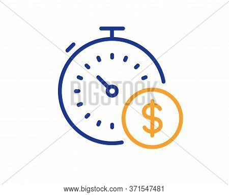 Last Minute Sale Line Icon. Shopping Timer Sign. Supermarket Time Symbol. Colorful Thin Line Outline