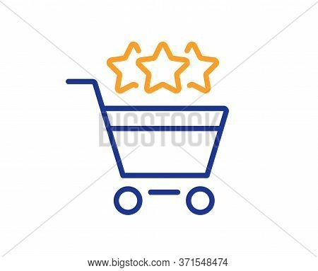Shopping Cart Stars Rating Line Icon. Customer Rank Sign. Supermarket Ranking Symbol. Colorful Thin