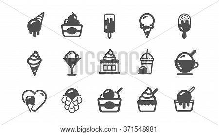 Ice Cream Icons Set. Vanilla Sundae, Bubble Waffle, Frozen Yogurt. Sweet Dessert Food, Milkshake Wit