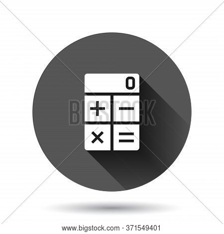 Calculator Icon In Flat Style. Calculate Vector Illustration On Black Round Background With Long Sha