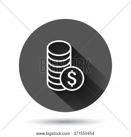 Coins Stack Icon In Flat Style. Dollar Coin Vector Illustration On Black Round Background With Long